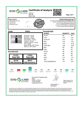 Holy Leaf CBD oil lab test results