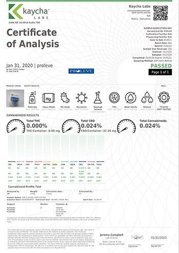 Proleve 35mg Bath Bomb lab test results
